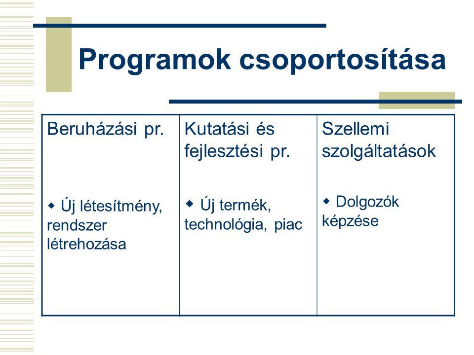 Program menete Projekt elvállalása Meghatározás Tervezés Kivitelezés Átadás Értékelés