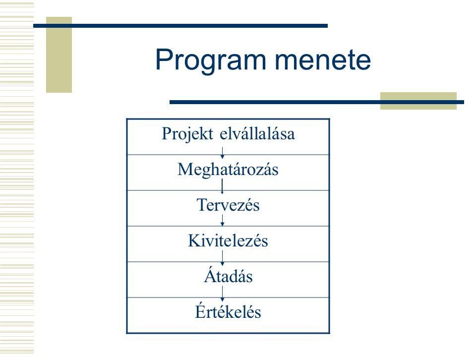 """Projektszponzor  Erőforrások feletti rendelkezés  Képviselet ellátása  Ellenőrzés  Engedélyek megadása  Értékelés, változtatás  Értékelés irányítása  A projekt lezárása Programmenedzser  A csapat megszervezése  Tervek előkészítése  Motiválás  Projektszponzor tájékoztatása  Jelentések készítése  Folyamatos """"jelenlét"""