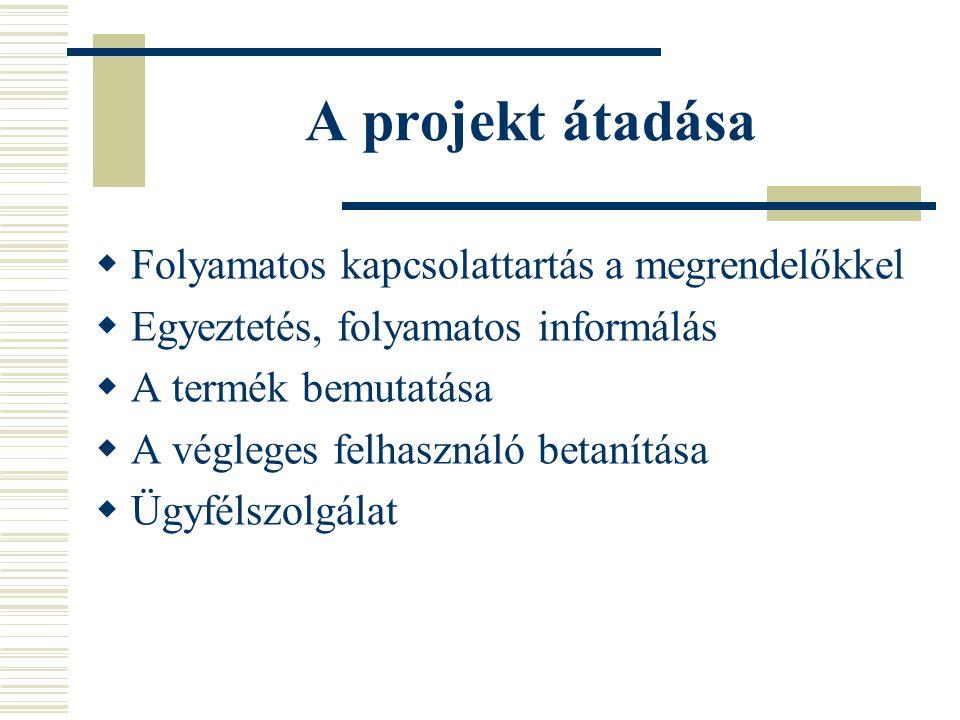 A projekt átadása  Folyamatos kapcsolattartás a megrendelőkkel  Egyeztetés, folyamatos informálás  A termék bemutatása  A végleges felhasználó betanítása  Ügyfélszolgálat