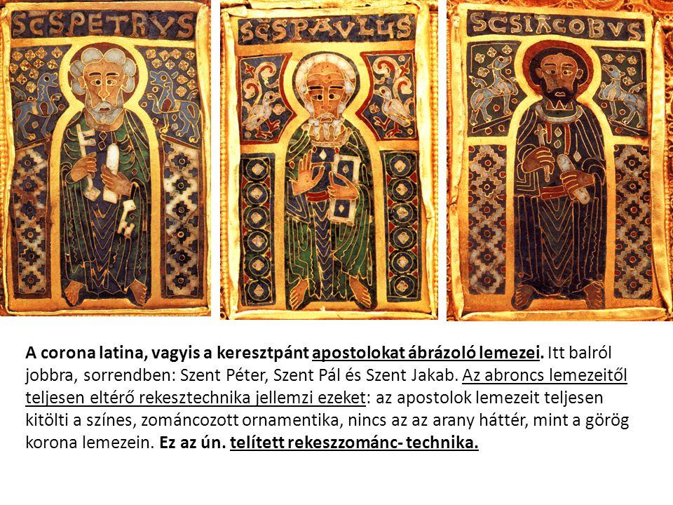 A corona latina, vagyis a keresztpánt apostolokat ábrázoló lemezei. Itt balról jobbra, sorrendben: Szent Péter, Szent Pál és Szent Jakab. Az abroncs l