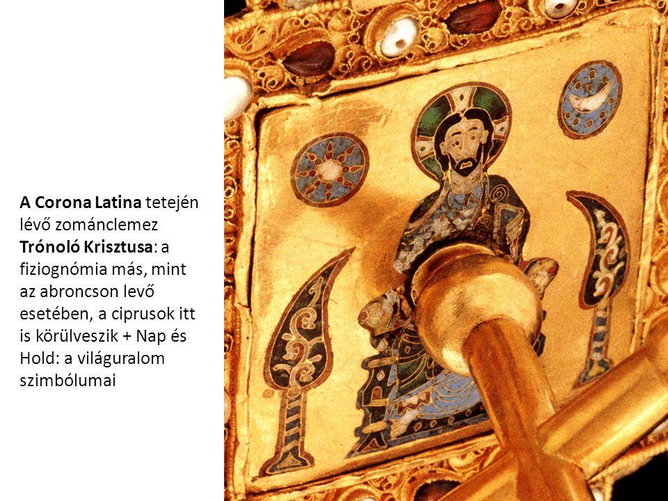 A Corona Latina tetején lévő zománclemez Trónoló Krisztusa: a fiziognómia más, mint az abroncson levő esetében, a ciprusok itt is körülveszik + Nap és