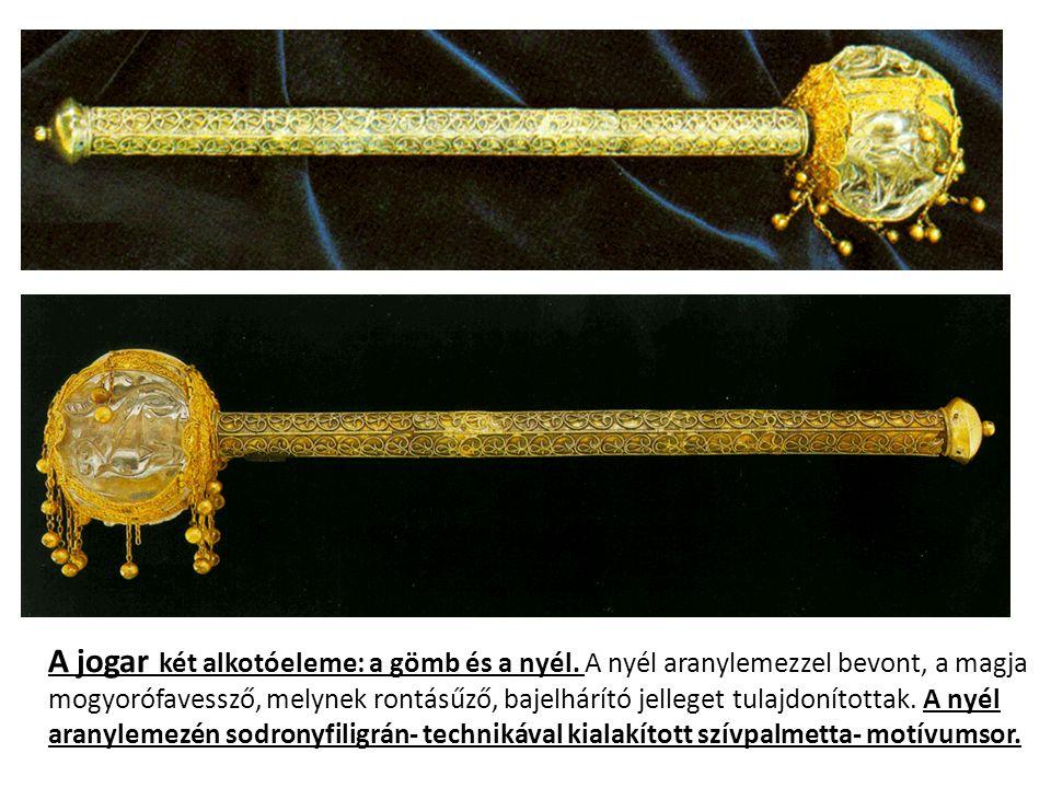 A jogar két alkotóeleme: a gömb és a nyél. A nyél aranylemezzel bevont, a magja mogyorófavessző, melynek rontásűző, bajelhárító jelleget tulajdonított