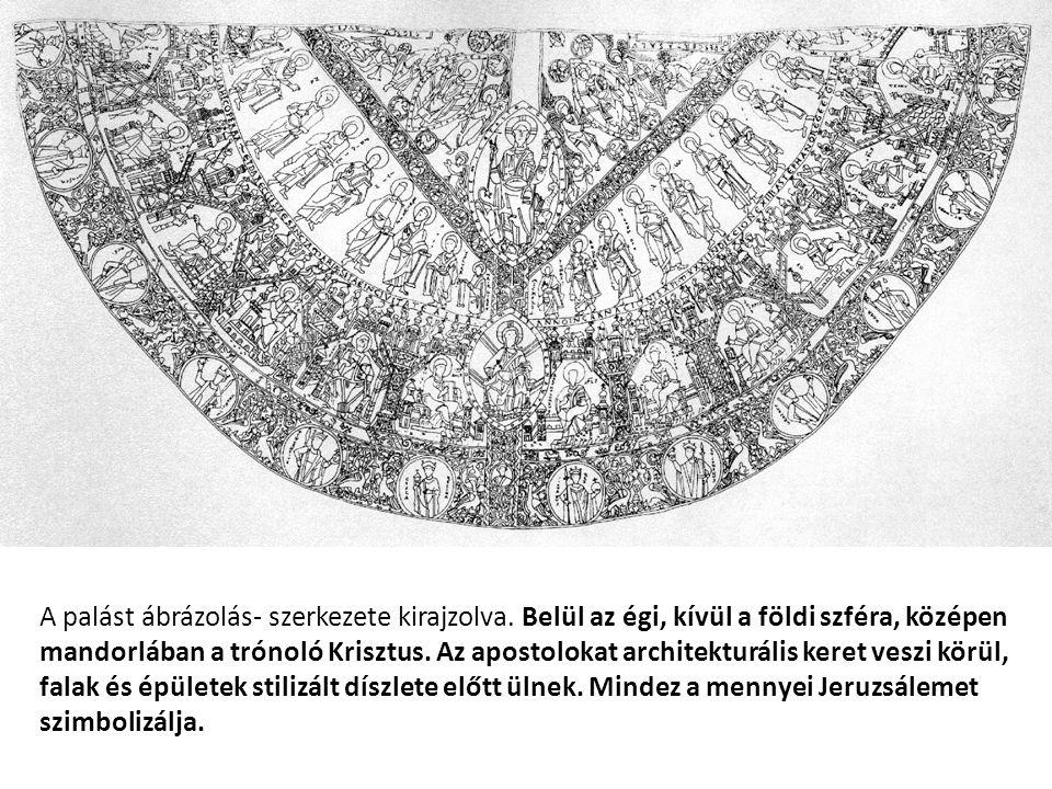 A palást ábrázolás- szerkezete kirajzolva. Belül az égi, kívül a földi szféra, középen mandorlában a trónoló Krisztus. Az apostolokat architekturális