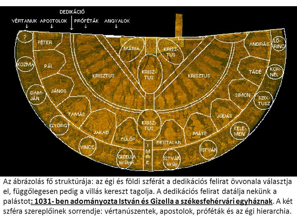 Az ábrázolás fő struktúrája: az égi és földi szférát a dedikációs felirat övvonala választja el, függőlegesen pedig a villás kereszt tagolja. A dediká