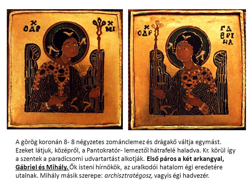 A görög koronán 8- 8 négyzetes zománclemez és drágakő váltja egymást. Ezeket látjuk, középről, a Pantokratór- lemeztől hátrafelé haladva. Kr. körül íg