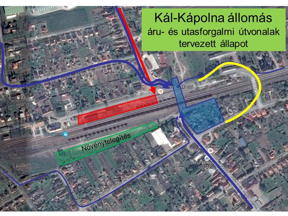 Kál-Kápolna állomás áru- és utasforgalmi útvonalak tervezett állapot Növénytelepítés