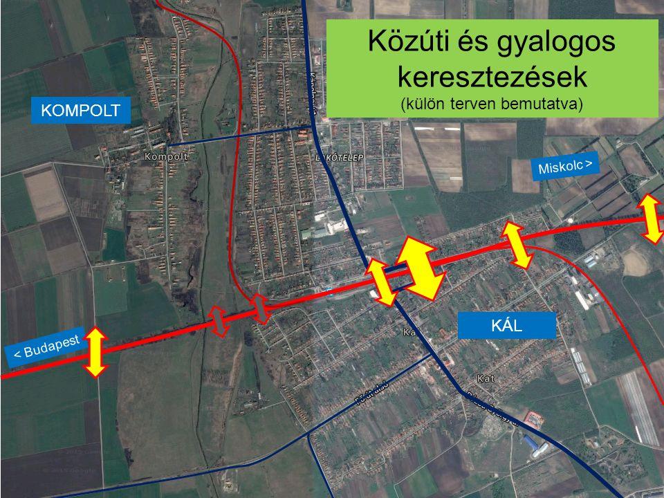 KÁL KOMPOLT < Budapest Miskolc > Közúti és gyalogos keresztezések (külön terven bemutatva)