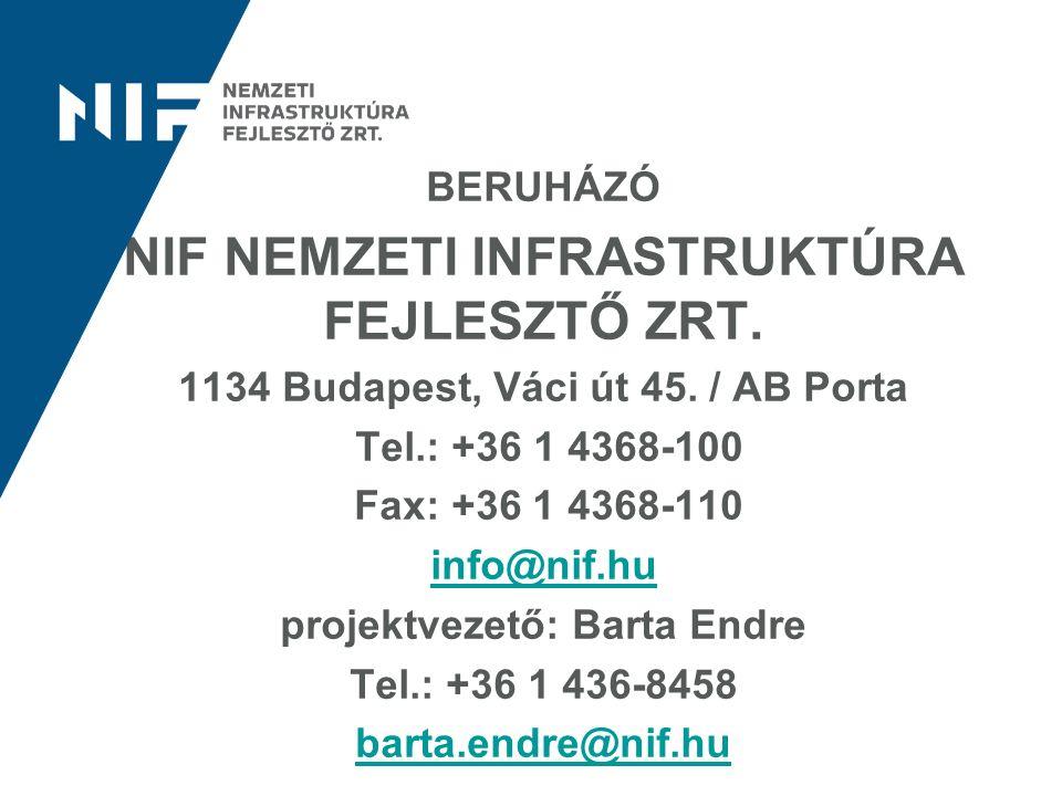 BERUHÁZÓ NIF NEMZETI INFRASTRUKTÚRA FEJLESZTŐ ZRT. 1134 Budapest, Váci út 45. / AB Porta Tel.: +36 1 4368-100 Fax: +36 1 4368-110 info@nif.hu projektv