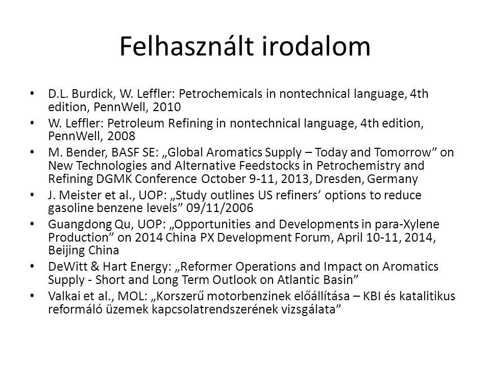 Felhasznált irodalom D.L. Burdick, W. Leffler: Petrochemicals in nontechnical language, 4th edition, PennWell, 2010 W. Leffler: Petroleum Refining in