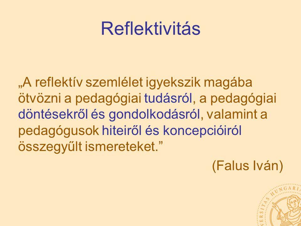"""Reflektivitás """"A reflektív szemlélet igyekszik magába ötvözni a pedagógiai tudásról, a pedagógiai döntésekről és gondolkodásról, valamint a pedagóguso"""
