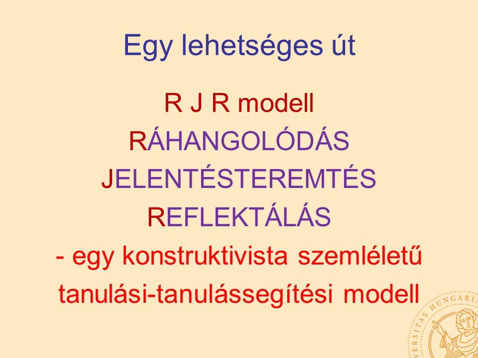 Egy lehetséges út R J R modell RÁHANGOLÓDÁS JELENTÉSTEREMTÉS REFLEKTÁLÁS - egy konstruktivista szemléletű tanulási-tanulássegítési modell