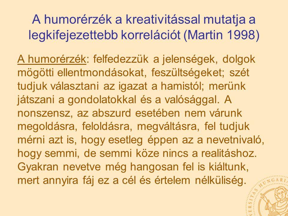 A humorérzék a kreativitással mutatja a legkifejezettebb korrelációt (Martin 1998) A humorérzék: felfedezzük a jelenségek, dolgok mögötti ellentmondás
