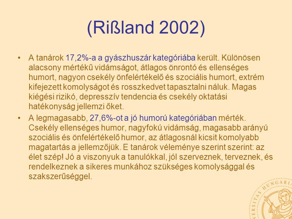 (Rißland 2002) A tanárok 17,2%-a a gyászhuszár kategóriába került. Különösen alacsony mértékű vidámságot, átlagos önrontó és ellenséges humort, nagyon