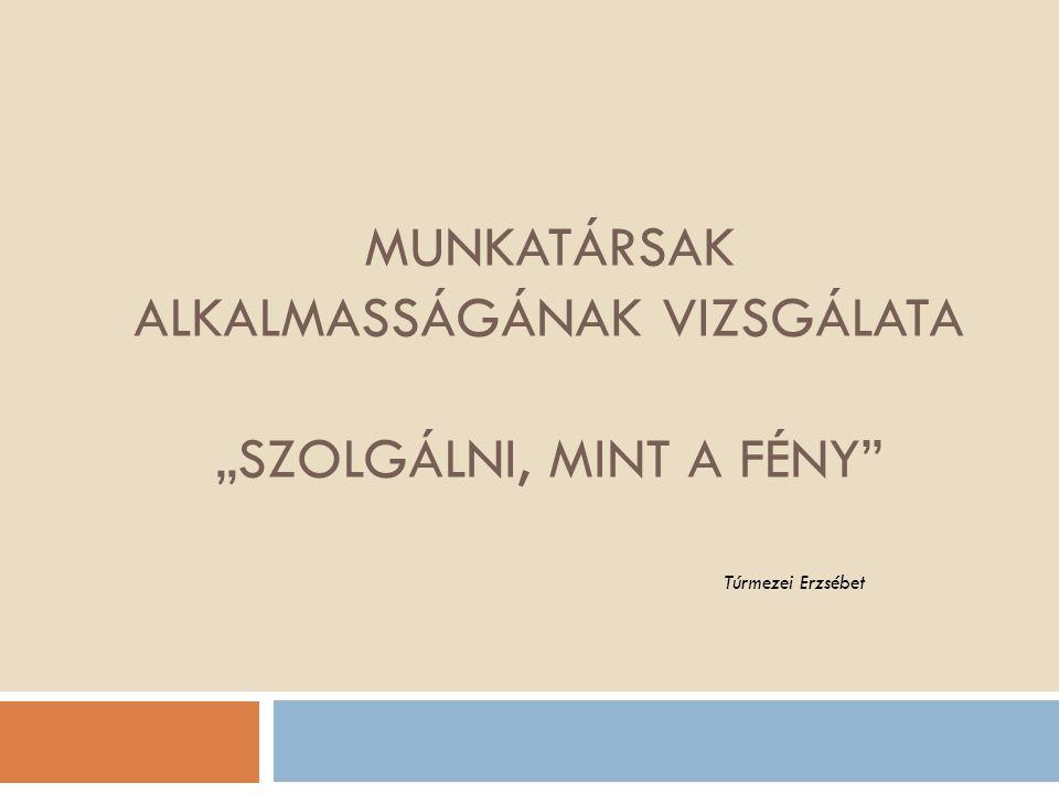 Összegzés  Eredmény: Személyre szóló pszichológiai vélemény, 1pld.munkatárs,1 pld.