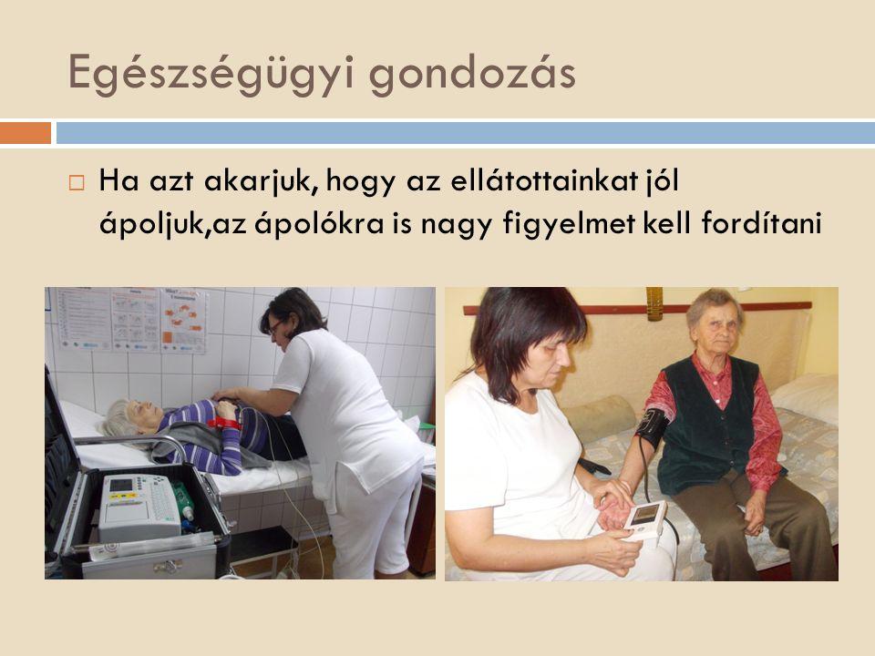 Egészségügyi gondozás  Ha azt akarjuk, hogy az ellátottainkat jól ápoljuk,az ápolókra is nagy figyelmet kell fordítani