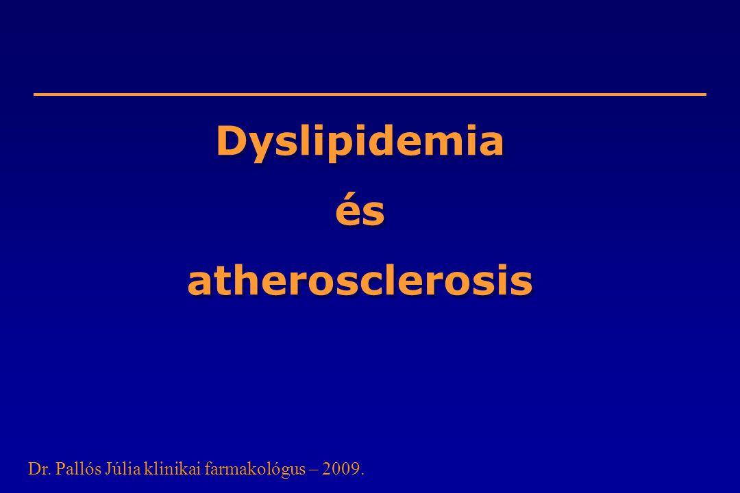 Dyslipidemia és atherosclerosis Dr. Pallós Júlia klinikai farmakológus – 2009.