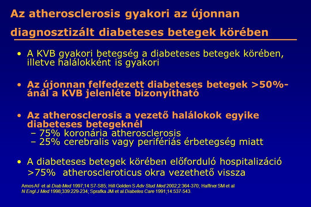 Az atherosclerosis gyakori az újonnan diagnosztizált diabeteses betegek körében A KVB gyakori betegség a diabeteses betegek körében, illetve halálokké