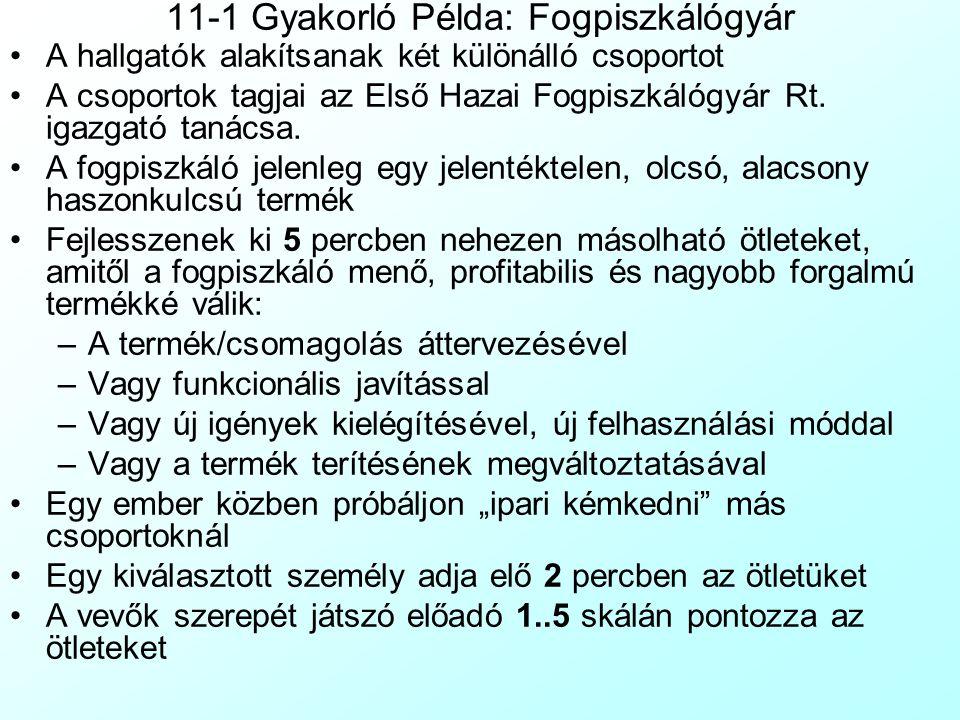 11-1 Gyakorló Példa: Fogpiszkálógyár A hallgatók alakítsanak két különálló csoportot A csoportok tagjai az Első Hazai Fogpiszkálógyár Rt.