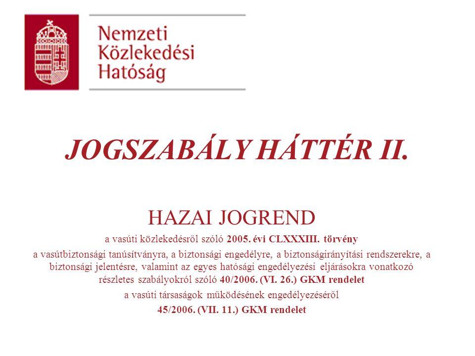 JOGSZABÁLY HÁTTÉR II. HAZAI JOGREND a vasúti közlekedésről szóló 2005.