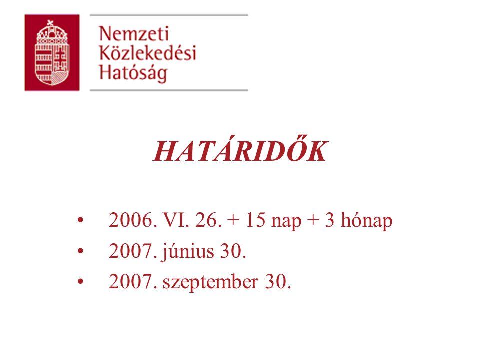 HATÁRIDŐK 2006. VI. 26. + 15 nap + 3 hónap 2007. június 30. 2007. szeptember 30.