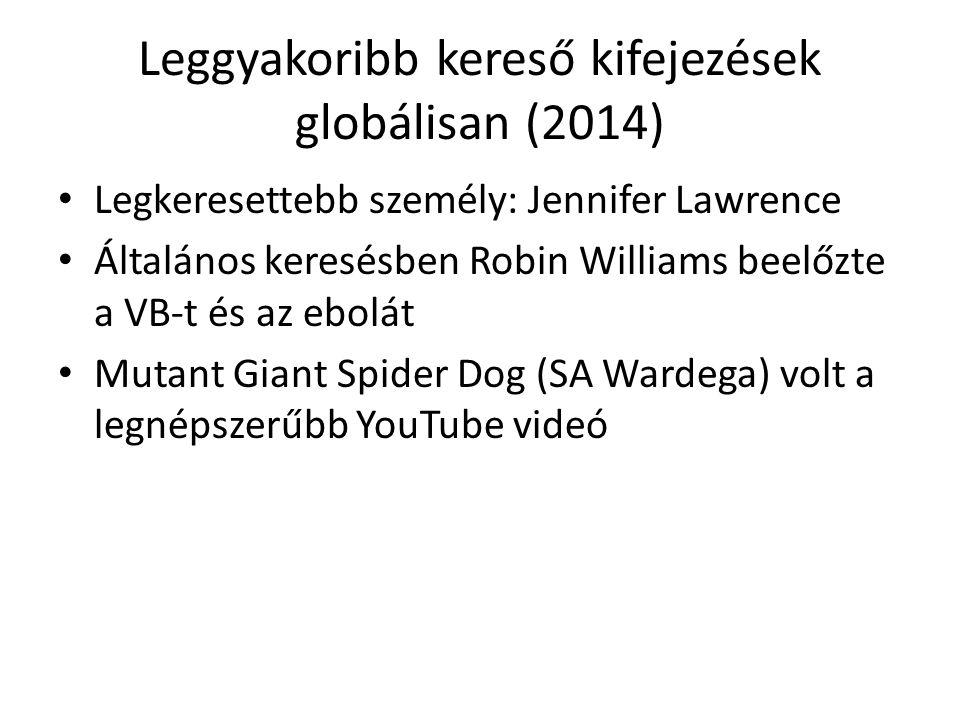 Leggyakoribb kereső kifejezések globálisan (2014) Legkeresettebb személy: Jennifer Lawrence Általános keresésben Robin Williams beelőzte a VB-t és az ebolát Mutant Giant Spider Dog (SA Wardega) volt a legnépszerűbb YouTube videó