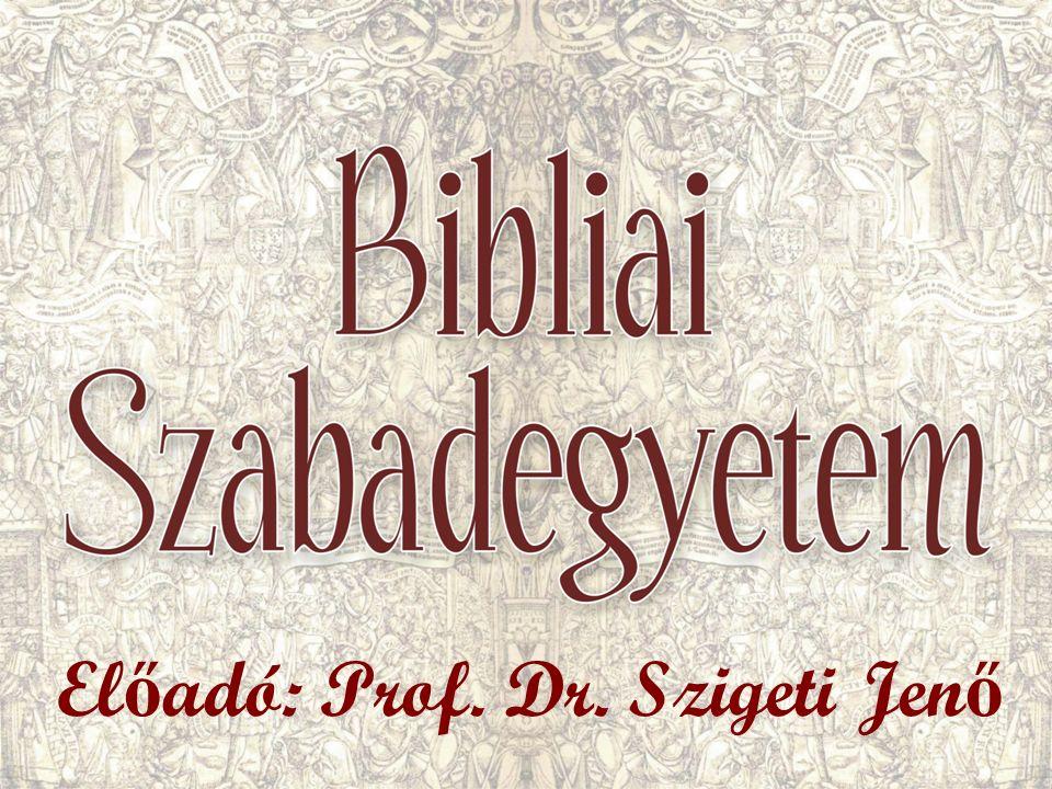 El ő adó: Prof. Dr. Szigeti Jen ő