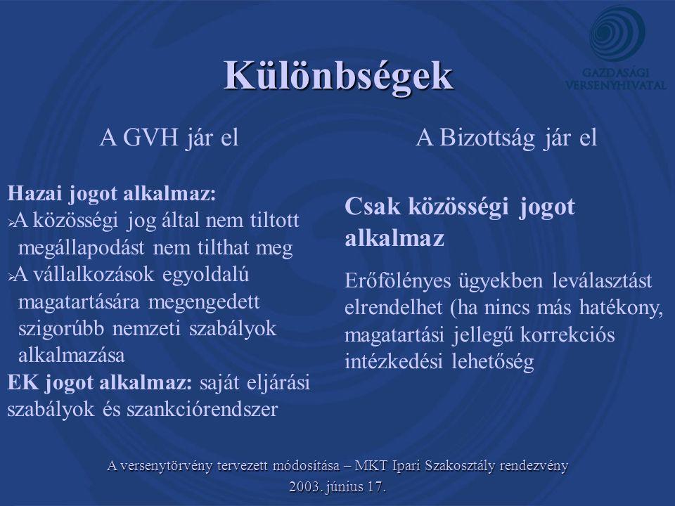 A versenytörvény tervezett módosítása – MKT Ipari Szakosztály rendezvény 2003. június 17. Különbségek A GVH jár elA Bizottság jár el Hazai jogot alkal