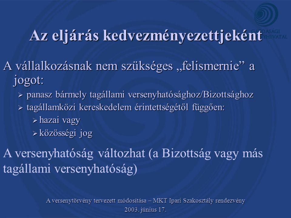 A versenytörvény tervezett módosítása – MKT Ipari Szakosztály rendezvény 2003. június 17. Az eljárás kedvezményezettjeként A vállalkozásnak nem szüksé
