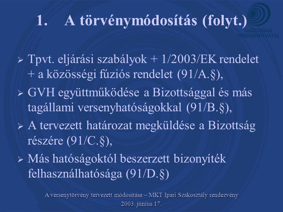 A versenytörvény tervezett módosítása – MKT Ipari Szakosztály rendezvény 2003.