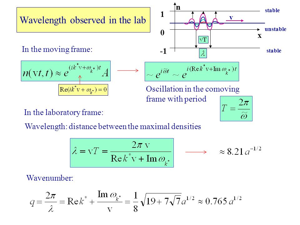 Wavelength observed in the lab Wavelength: distance between the maximal densities x n 1 0 stable v unstable Oscillation in the comoving frame with period In the moving frame: In the laboratory frame: Wavenumber: