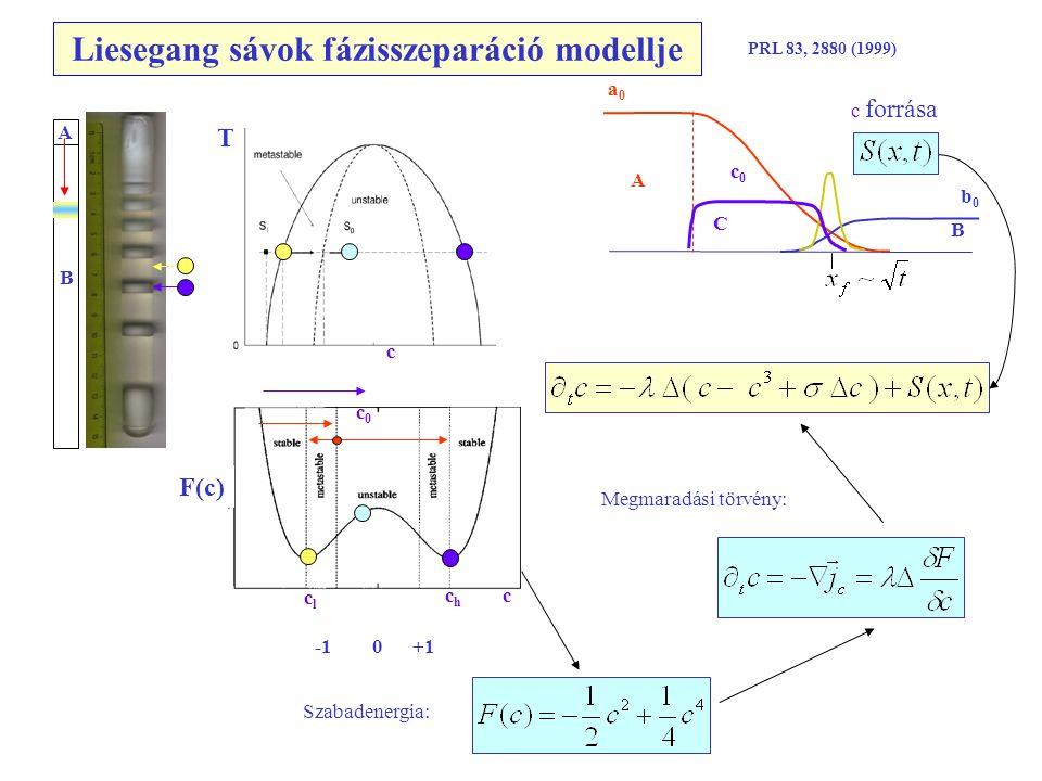 Liesegang sávok fázisszeparáció modellje c c A B Szabadenergia: c forrása F(c) A B a0a0 b0b0 c0c0 C PRL 83, 2880 (1999) c0c0 clcl chch -1 0 +1 Megmaradási törvény: T
