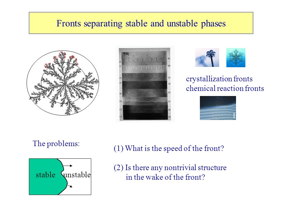 Fronts separating stable and unstable phases crystallization fronts chemical reaction fronts The problems: stableunstable (1) What is the speed of the front.