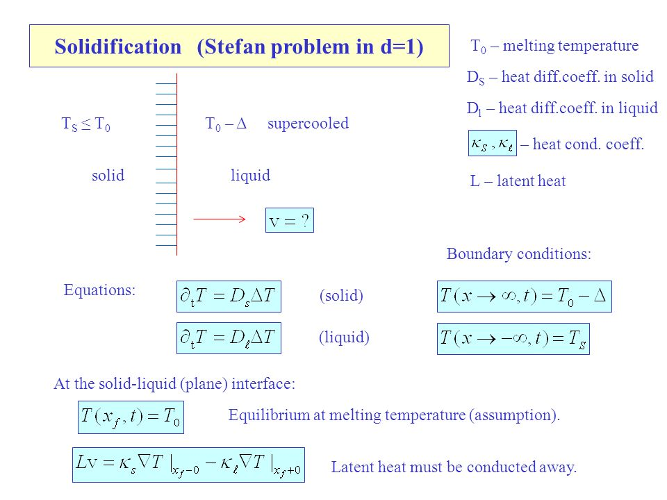 Solidification (Stefan problem in d=1) T 0 – melting temperature Equations: solidliquid T 0 – Δ supercooledT S ≤ T 0 (solid) (liquid) Boundary conditions: At the solid-liquid (plane) interface: Equilibrium at melting temperature (assumption).