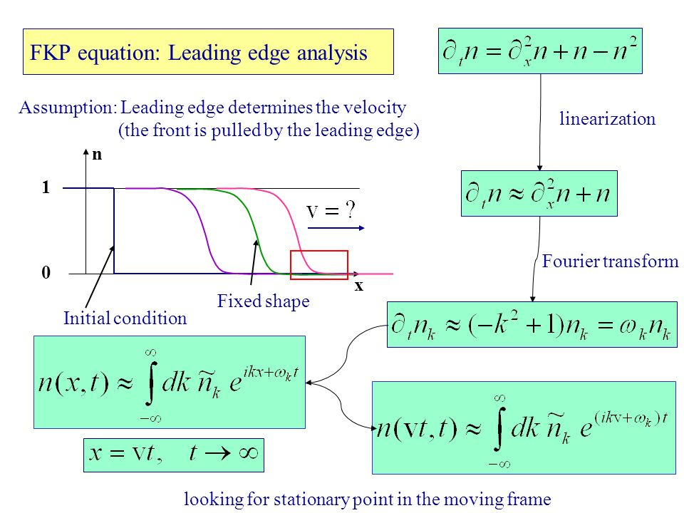 FKP equation: Leading edge analysis looking for stationary point in the moving frame Initial condition x n 1 0 Fixed shape Assumption: Leading edge determines the velocity (the front is pulled by the leading edge) linearization Fourier transform