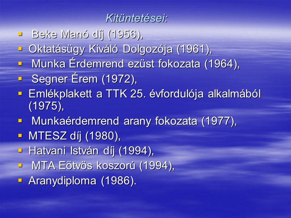 Kitüntetései:  Beke Manó díj (1956),  Oktatásügy Kiváló Dolgozója (1961),  Munka Érdemrend ezüst fokozata (1964),  Segner Érem (1972),  Emlékplakett a TTK 25.