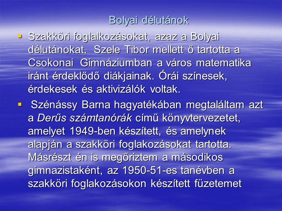 Bolyai délutánok  Szakköri foglalkozásokat, azaz a Bolyai délutánokat, Szele Tibor mellett ő tartotta a Csokonai Gimnáziumban a város matematika iránt érdeklődő diákjainak.