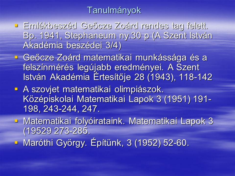 Tanulmányok  Emlékbeszéd Geőcze Zoárd rendes tag felett.