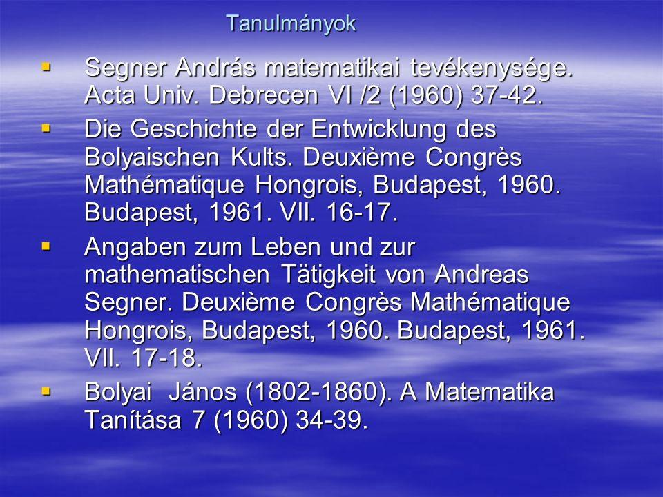 Tanulmányok  Segner András matematikai tevékenysége.