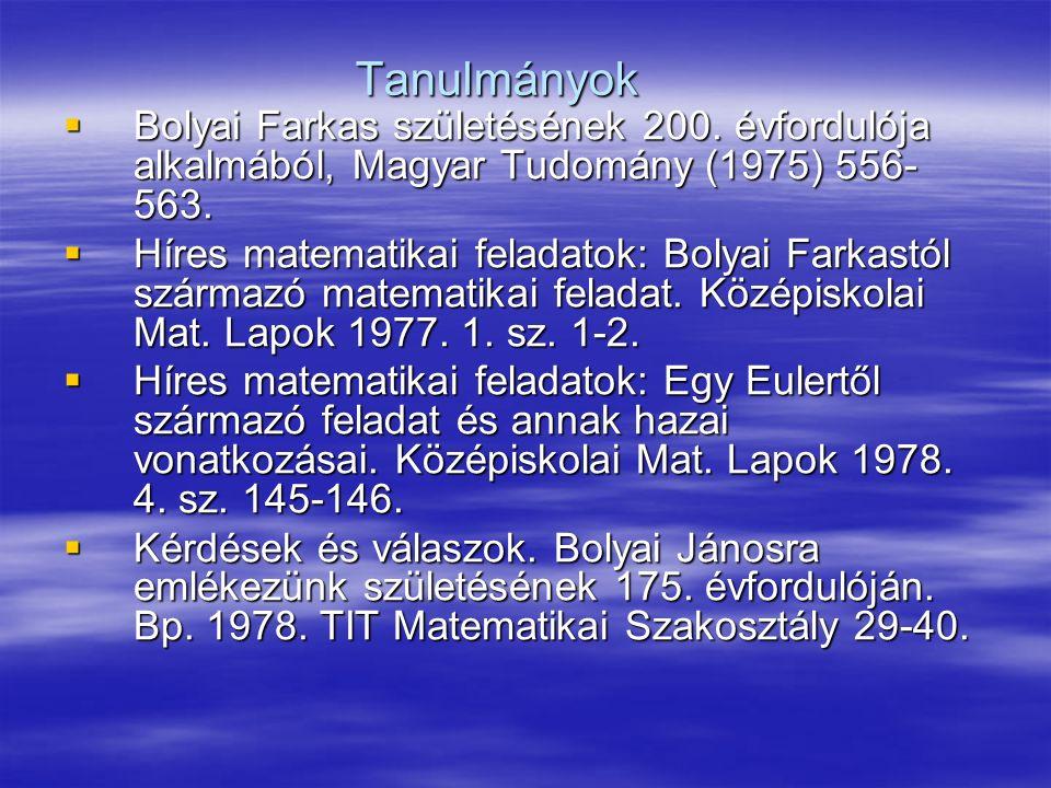 Tanulmányok  Bolyai Farkas születésének 200.