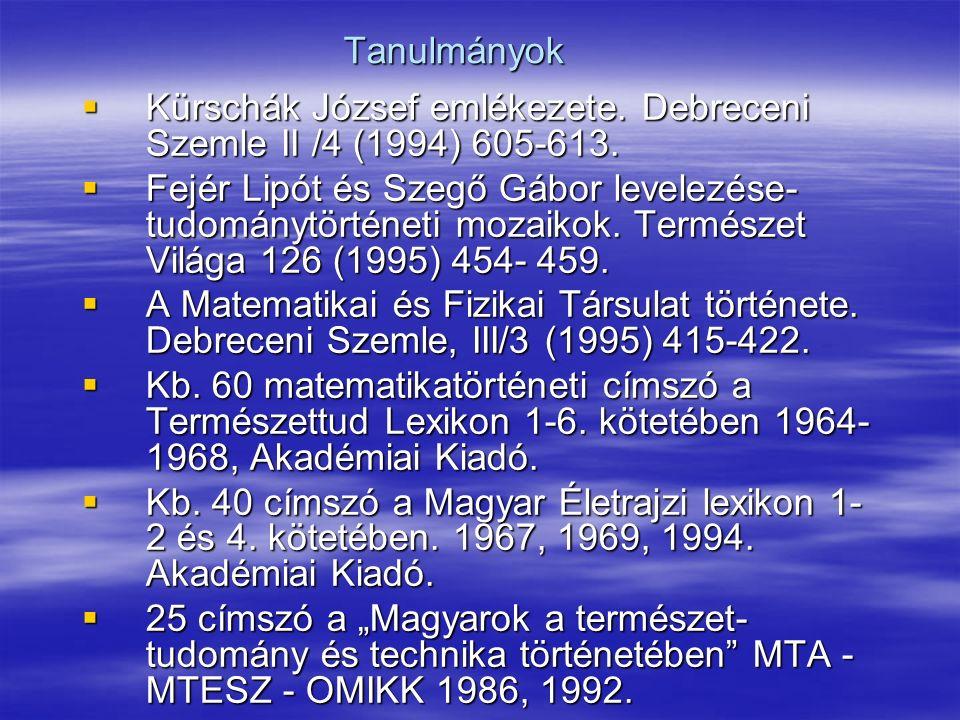 Tanulmányok  Kürschák József emlékezete.Debreceni Szemle II /4 (1994) 605-613.