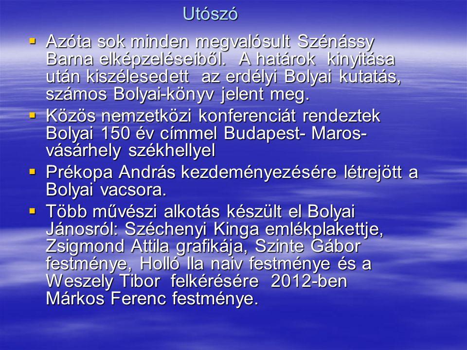 Utószó  Azóta sok minden megvalósult Szénássy Barna elképzeléseiből.