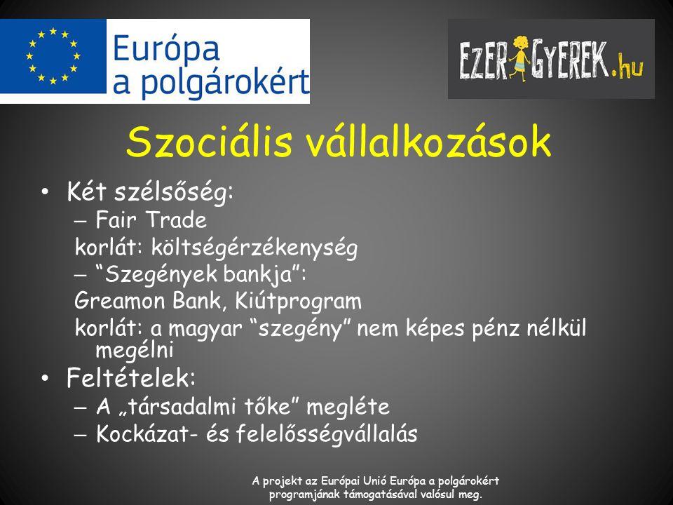 """Szociális vállalkozások Két szélsőség: – Fair Trade korlát: költségérzékenység – Szegények bankja : Greamon Bank, Kiútprogram korlát: a magyar szegény nem képes pénz nélkül megélni Feltételek: – A """"társadalmi tőke megléte – Kockázat- és felelősségvállalás A projekt az Európai Unió Európa a polgárokért programjának támogatásával valósul meg."""