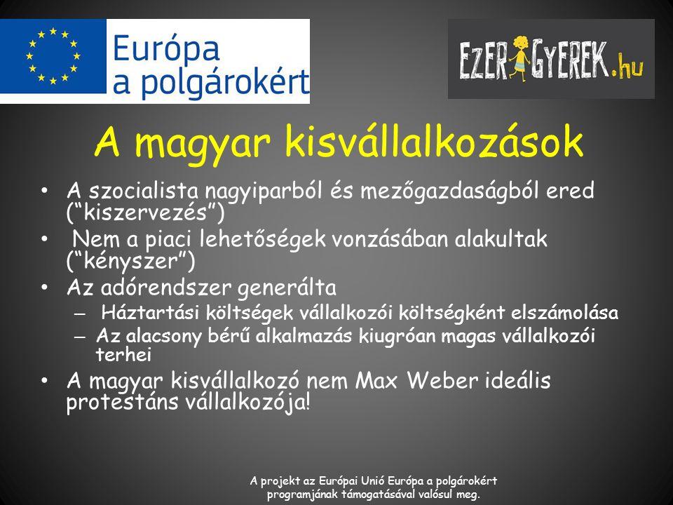 A magyar kisvállalkozások A szocialista nagyiparból és mezőgazdaságból ered ( kiszervezés ) Nem a piaci lehetőségek vonzásában alakultak ( kényszer ) Az adórendszer generálta – Háztartási költségek vállalkozói költségként elszámolása – Az alacsony bérű alkalmazás kiugróan magas vállalkozói terhei A magyar kisvállalkozó nem Max Weber ideális protestáns vállalkozója.