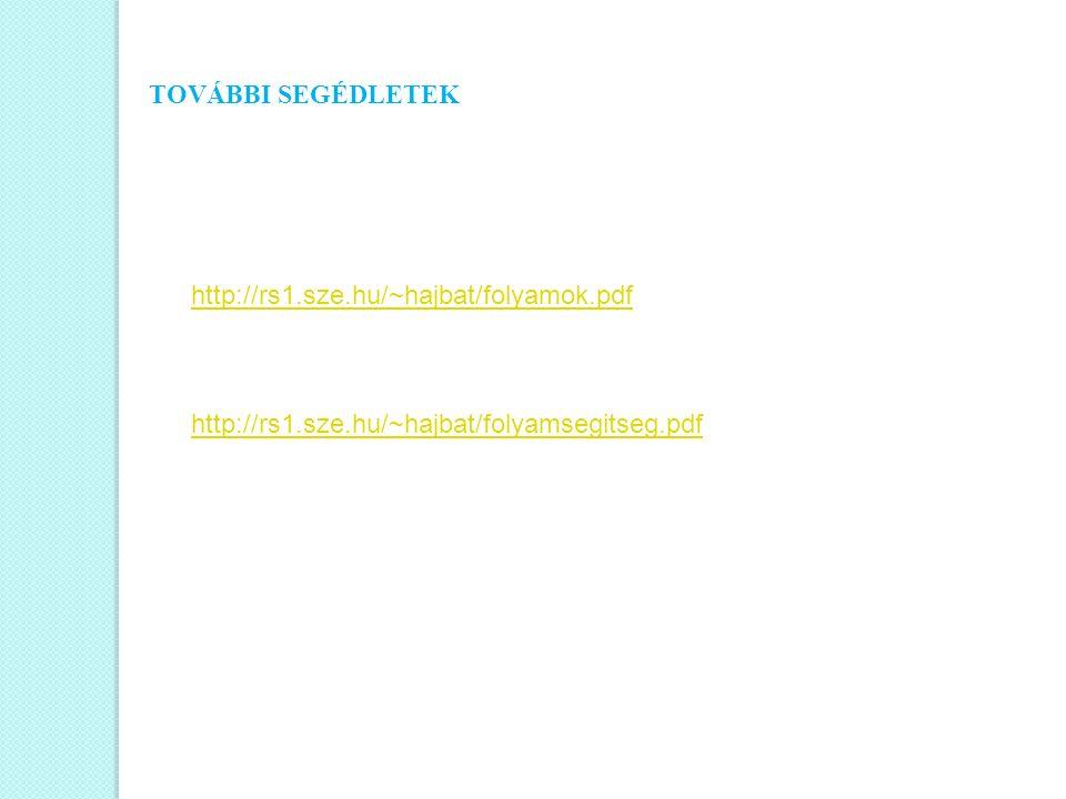TOVÁBBI SEGÉDLETEK http://rs1.sze.hu/~hajbat/folyamok.pdf http://rs1.sze.hu/~hajbat/folyamsegitseg.pdf