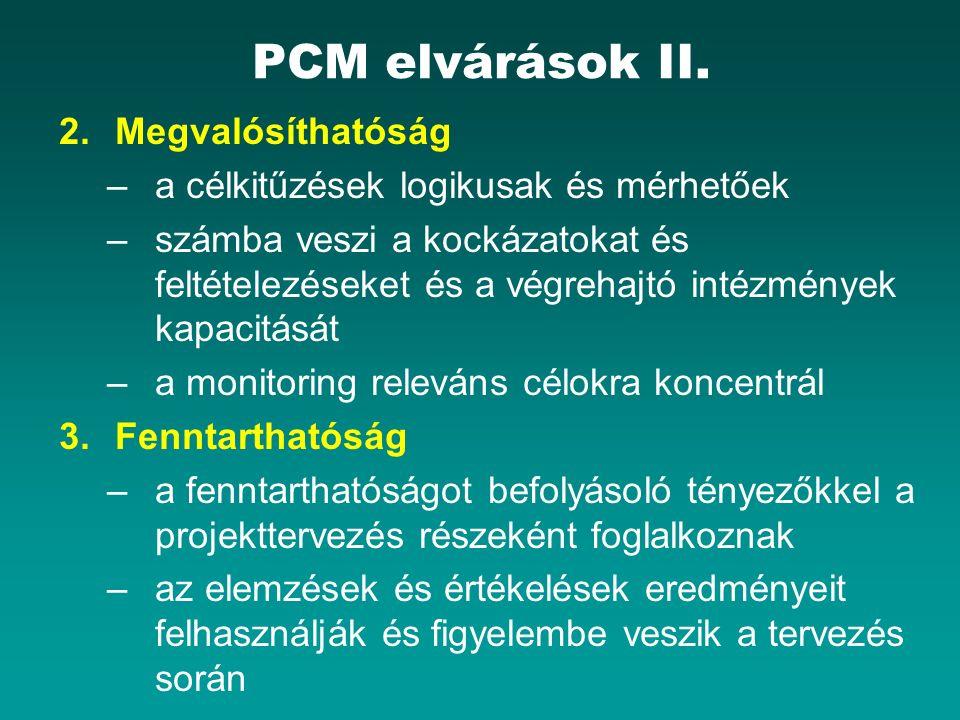 PCM elvárások II. 2.Megvalósíthatóság –a célkitűzések logikusak és mérhetőek –számba veszi a kockázatokat és feltételezéseket és a végrehajtó intézmén