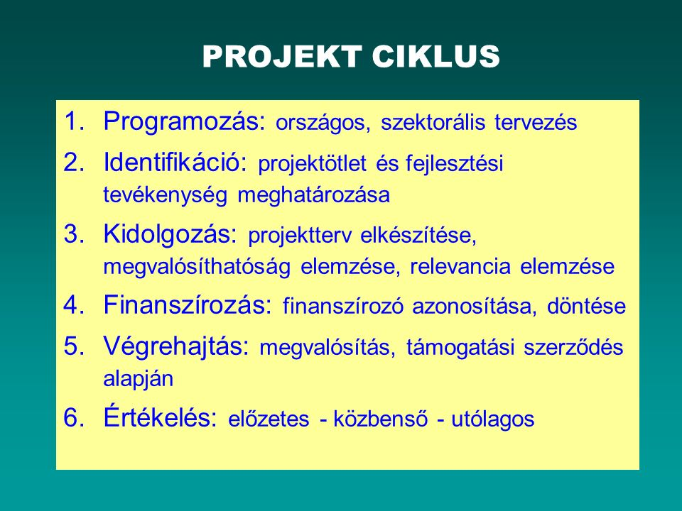 PROJEKT CIKLUS 1.Programozás: országos, szektorális tervezés 2.Identifikáció: projektötlet és fejlesztési tevékenység meghatározása 3.Kidolgozás: proj