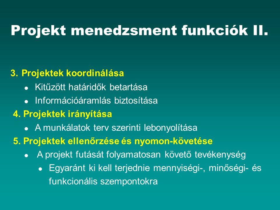 Projekt menedzsment funkciók II. 3. Projektek koordinálása Kitűzött határidők betartása Információáramlás biztosítása 4. Projektek irányítása A munkál