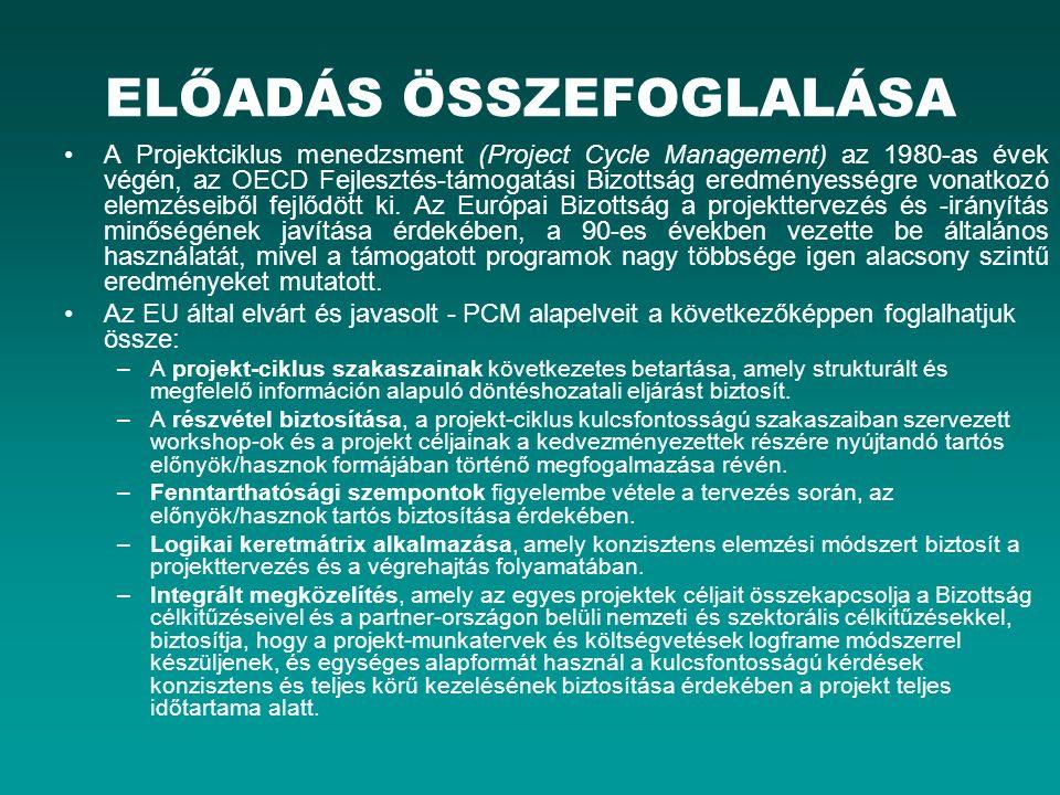 ELŐADÁS ÖSSZEFOGLALÁSA A Projektciklus menedzsment (Project Cycle Management) az 1980-as évek végén, az OECD Fejlesztés-támogatási Bizottság eredménye