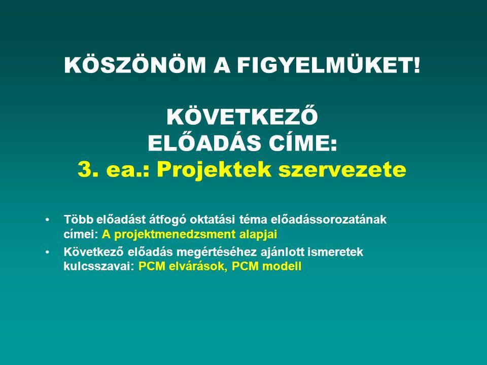 KÖSZÖNÖM A FIGYELMÜKET! KÖVETKEZŐ ELŐADÁS CÍME: 3. ea.: Projektek szervezete Több előadást átfogó oktatási téma előadássorozatának címei: A projektmen