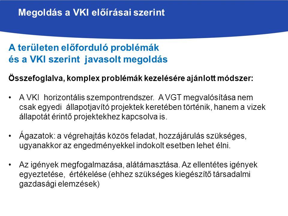 Megoldás a VKI előírásai szerint A területen előforduló problémák és a VKI szerint javasolt megoldás Összefoglalva, komplex problémák kezelésére ajánlott módszer: A VKI horizontális szempontrendszer.